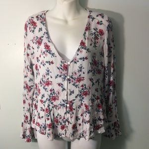 Women's Blouse Divided Floral Size 10